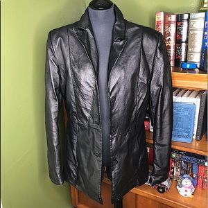 Clio Black Leather Jacket Button Front